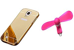 Novo Style Back Cover Case with Bumper Frame Case for Samsung I9500 Galaxy S4  Golden +  Smallest Mobile Fan Android Smart Phone