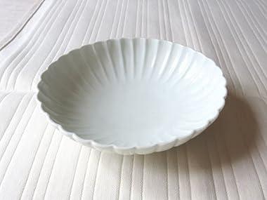 【阿部春弥】白磁輪花楕円鉢