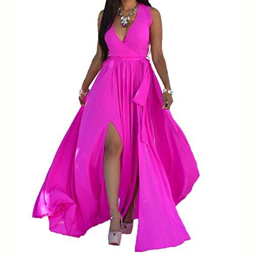 Shekiss Sexy Women Chiffon V Neck Long Cocktail Crystal Maxi Evening Dress Rose Large