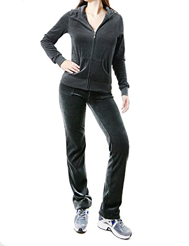 Fands-Jo23019 Women'S Fashion Hoodie Velour 2 Piece Set (Large, Charcoal)