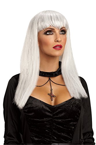 Sexy Snow White Glitter Vamp Wig Long Bangs Women Adult Costume Accessosy Angel