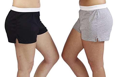 Jerzees Juniors Pack of 2 womens gym/running/yoga/cheer shorts - Black and Grey S Black Cheer Shorts