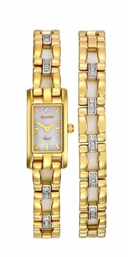 Accurist LB255 Stone Set Goldtone Ladies Gift Set Watch and Bracelet