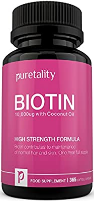Biotin Hair Growth Supplement, 365 Softgels (Full Year Supply) - 100% MONEY BACK GUARANTEE - Puretality Unique High Strength Biotin 10000 mcg with Added Coconut Oil, Vitamin B7 Contributes to Healthy Hair, Nails & Skin - Double Strength of 5000 MCG compet