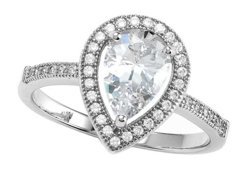 Zoe R Hand Set Cubic Zirconia Pear Shape Engagement Ring Size 6