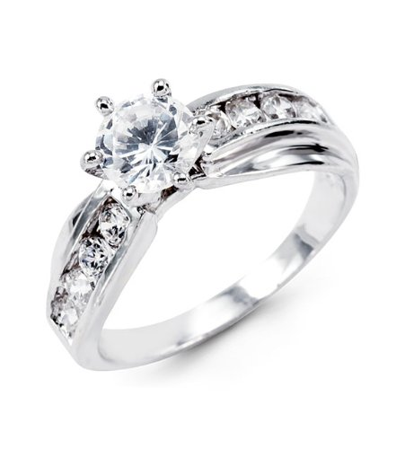 Solid 14k White Gold Round CZ Modern Engagement Ring