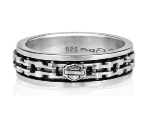 Harley-Davidson® Men's Sterling Silver Spinning Chain Ring. HDR0174