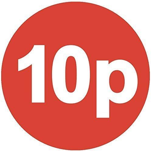 Audioprint Lot. 1000Lot de 10P Prix Autocollants 30mm rouge
