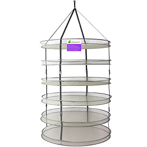 Growsun 3-Ft 6-Layer Collapsible Mesh Hanging Dry Net Dry Rack For Plants (Leaf Blower Racks compare prices)