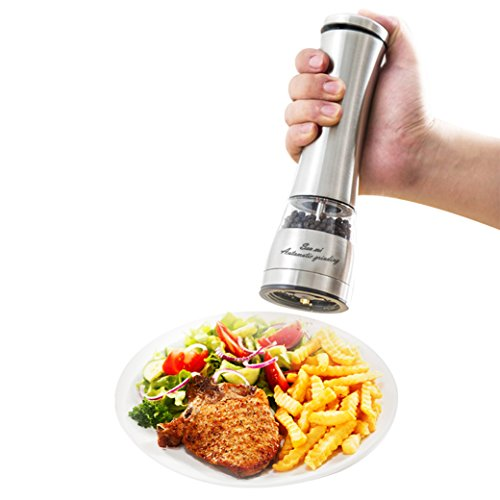 senmi Automatic Electric Salt or Pepper Grinder Mill, Battery Powered with LED Light At Bottom, Stainless Steel Manual Adjustable Ceramic Grinding Mechanism - Best Quality Spice Shakers (Chile Pepper Grinder compare prices)