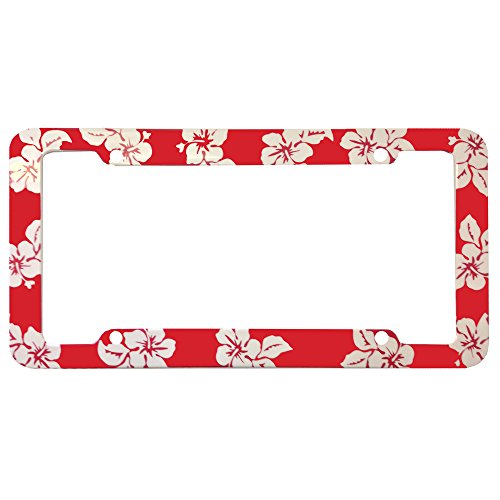 Red Hawaiian Hawaii Aloha Print with White Hibiscus Flowers Wild Series Car Truck SUV Plastic License Plate Frame (License Plate Frame Hibiscus compare prices)