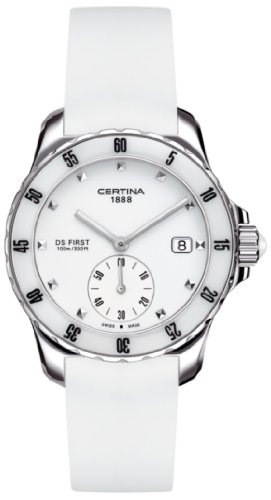 Certina DS First Lady Ceramic Chronograph Silicone Bracelet Watch c0142351701100