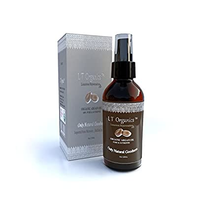 LT Organics Virgin Argan Oil All Natural Shampoo For Hair, Skin, Face & Nails [4 In 1]. Lifetime Warranty! 4oz, Best Hair Growth Product, 100% Pure, Unscented Moisturizer & Conditioner. Best Value!