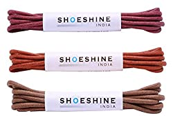 Formal shoe laces / Dress shoe laces in multi colors 2mm thin (Pack of 3)