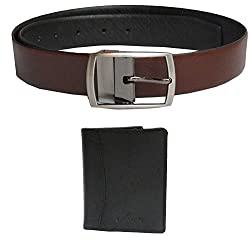 eXCorio Spanish Leather Reversible Black Brown Belt and Genuine Leather Card Holder