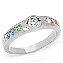 buy Unique Backset Stone Rainbow Gem Ring - Gay & Lesbian Pride Stainless Steel Ring (Great As Gay Gift Or Wedding Marriage Or Engagement Band W/ Cz Stones). Glbt / Lgbt Pride Jewelry (8)