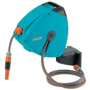 Gardena 2647 Wall Mount Swiveling Automatic Retractable Garden Hose Reel With 33-Foot Hose