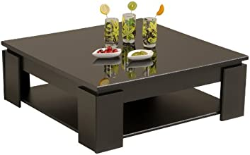 Parisot 9459TABA Table Basse Quadri Noir / Mélamine Brillante Noir