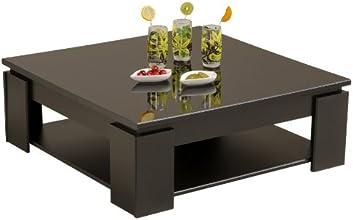 Parisot 9459TABA Table Basse Quadri Noir / Mélamine Brillante Noir