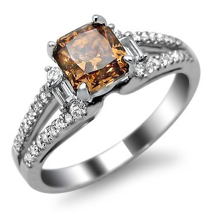 1.57ct Brown Cushion Cut Diamond Engagement Ring