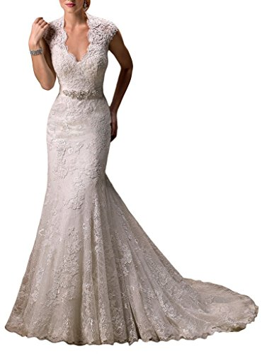Ubridal Real Pictures Embroidery Lace Mermaid Court Wedding Dresses Bridal Gowns white 8