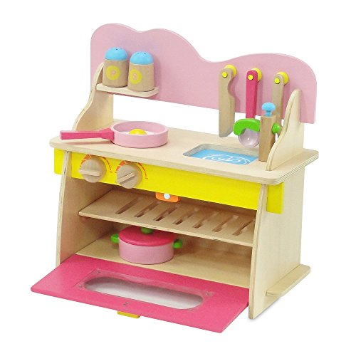 18 inch doll furniture pink multicolored wooden kitchen for Kitchen set node attributes
