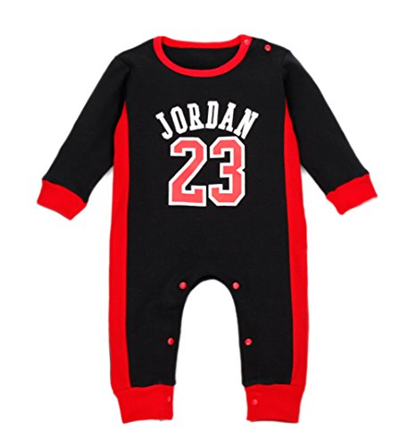 StylesILove Baby Boy Jordan 23 Cotton Jumpsuit (12-18 Months, Black)
