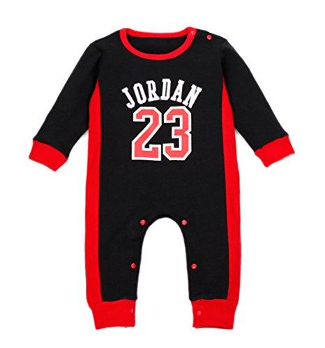 StylesILove Baby Boy Jordan 23 Cotton Jumpsuit (12-18 Months, Black)