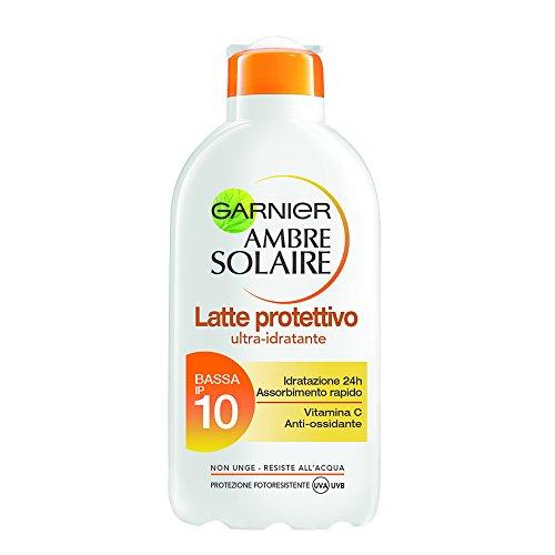 Garnier - Latte protettivo, Ambre Solaire ultra-idratante, non grasso, resiste all'acqua, vitamina C, protezione fotoresistente UVA UVB Bassa IP 10 -  200 ml