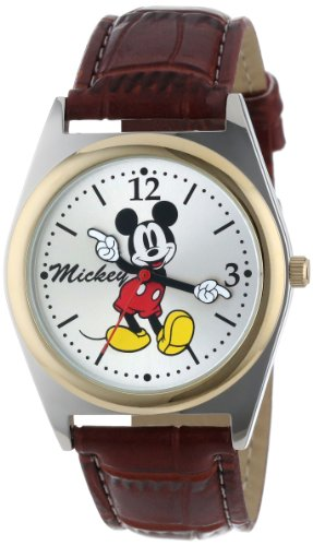 Disney Men's MCK623 Mickey Mouse Moving Hands Brown Strap Watch