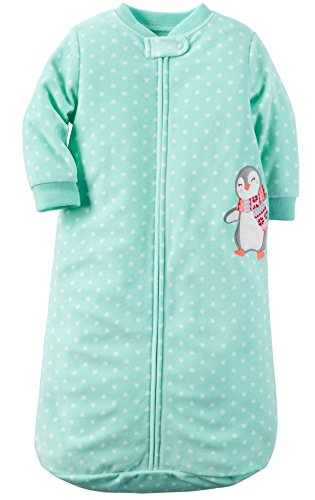 Carters One Piece Zoo Animals Micro Fleece Sleep Bag or Sack (0-9 Months, Turquoise Heart Penguin)