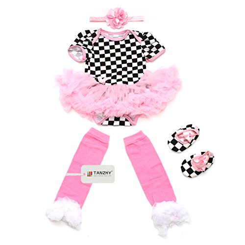TANZKY® 4pcs Baby Pink Jumpsuit Romper Baby Girl Dress Black Plaid Skirt Party Dress