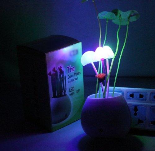 Firefly Led Light Control Sensor Mushroom Lamp/ Mini Potted/Bonsai/ Green Plants On The Wall/Night Light,Automatic Change Color, Romantic Led Lighting,Perfect Gift
