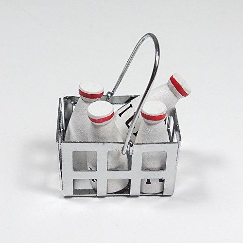 1:12 Wooden Fixed Milk Bottle In Silver Metal Basket Drinking Kitchen Miniature