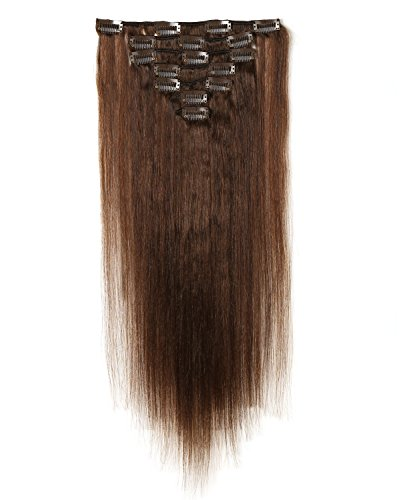 Rosette Hair 18 Inch Straight Human Hair Weft Remy Virgin Hair Clip In Extensions Full Head Hair Extensions Weave Unprocessed Hair 7pcs/set (dark brown)
