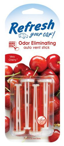Refresh Your Car Odor Eliminating Auto Vent Stick Car and Home Air Freshener, Very Cherry Scent