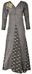 Sree Hamsa Women's Cotton Regular Fit Kurta (Grey)