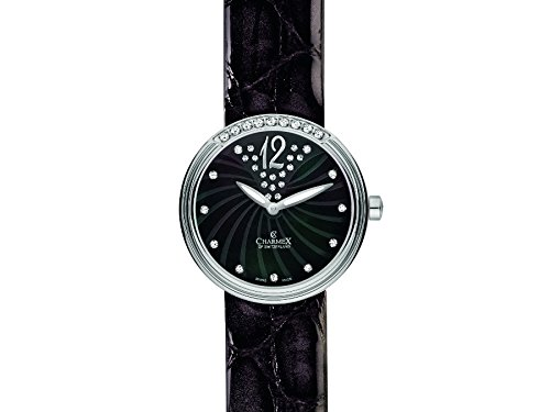 Charmex Capri 6237 30mm Stainless Steel Case Black Calfskin Synthetic Sapphire Women's Watch
