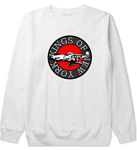 Kings Of Ny Airplane World War Air Force Boys Kids Crewneck Sweatshirt X-Large White