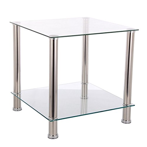 bigzzia-clear-glass-2-layer-end-table-stainless-steel-chrome-finish-frame-coffee-side-lamp-2-tier-cl