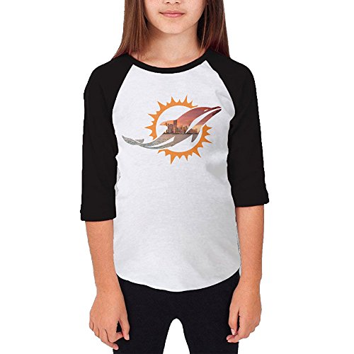 Hotboy19 Youth Girls Miami Sport Football Logo Raglan Baseball T Shirt Black Size M (Super Bowl 46 Blu Ray compare prices)