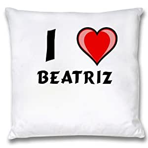 Amazon.com: White Cushion Cover with I Love Beatriz (first name