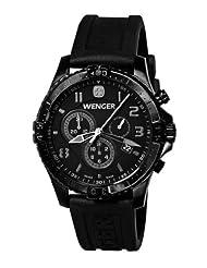 Wenger Men's 77054 Squadron Chrono All-Black Rubber Strap Watch