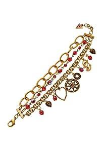 Guess UFB80704 Ladies 3 Row Multi Charm Bracelet