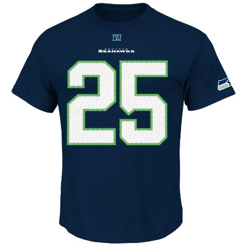NFL Seattle Seahawks Men's Richard Sherman #25 Eligible Receiver Crew Neck T-Shirt, Navy, Small at Amazon.com