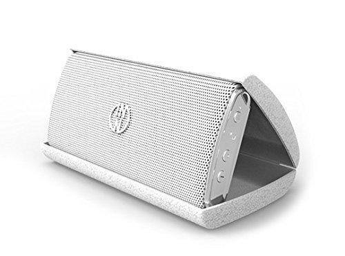 InnoDesign Devices 18727 InnoFLASK tragbarer Bluetooth Lautsprecher mit Akku/Lederetui edel weiß