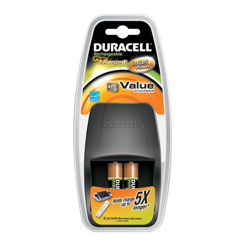 Duracell Value Charger With 2AA Pre Charged Rechargeable NiMH Batteries, CEF14X2