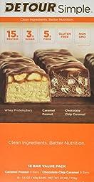 Detour Simple Caramel Peanut and Chocolate Chip Caramel Nutrition Bars, 1.5 oz, 18 Bar