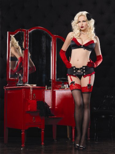 3PC.Diva Set,stretch satin underwire bra,garter belt and g-string