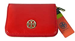 Tory Burch Dena Zippered Coin Case in Tory Red Distressed Leather